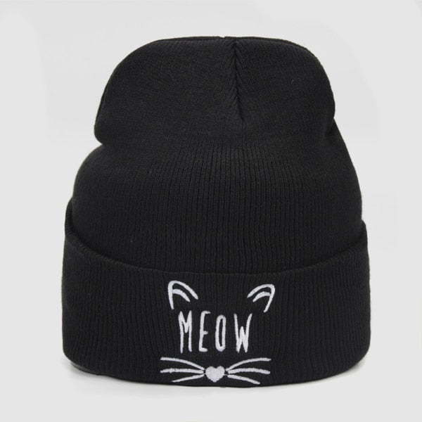 Cat Meow Embroidered Beanie Hat - Cute Wayz