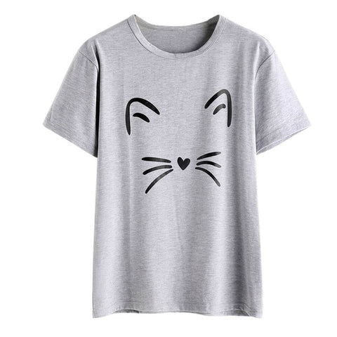 Cat Face T-shirt Print - Cute Wayz