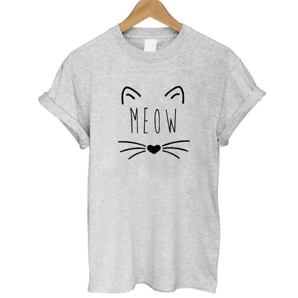 Cute Cat Meow Print T-shirt for Women - Cute Wayz