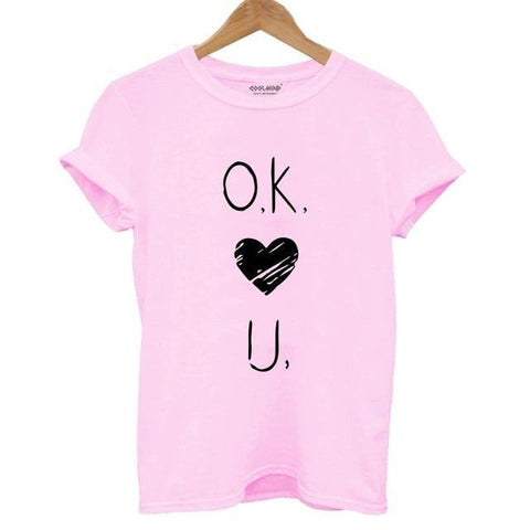 Ok Love U Print T-shirt for Women - Cute Wayz