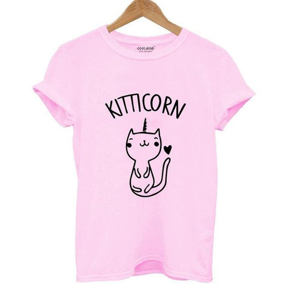 Cute Unicorn Cat Print T-shirt - Cute Wayz