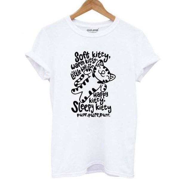 Soft Kitty Warm Kitty Cat Print T-shirt - Cute Wayz