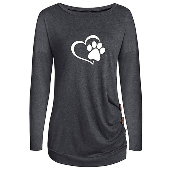 Cute Long Sleeve T-shirt with Heart and Paw Print - Cute Wayz