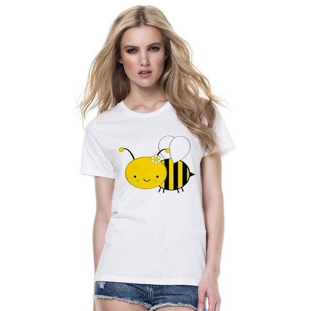 Bumble Bee Print T-shirt for Women - Cute Wayz