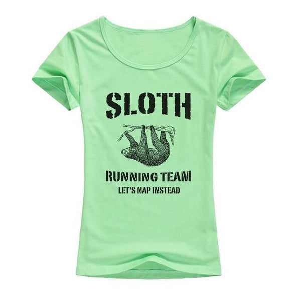 Sloth Running Team T-shirt Print for Women - Cute Wayz