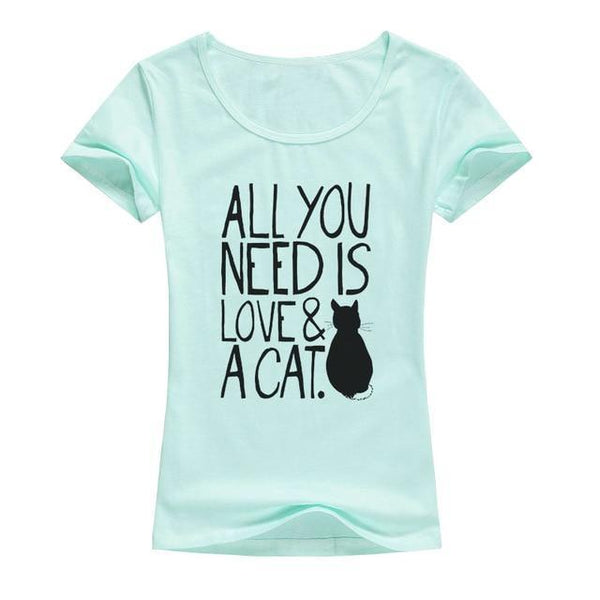 Love and Cat T-shirt Print for Women - Cute Wayz