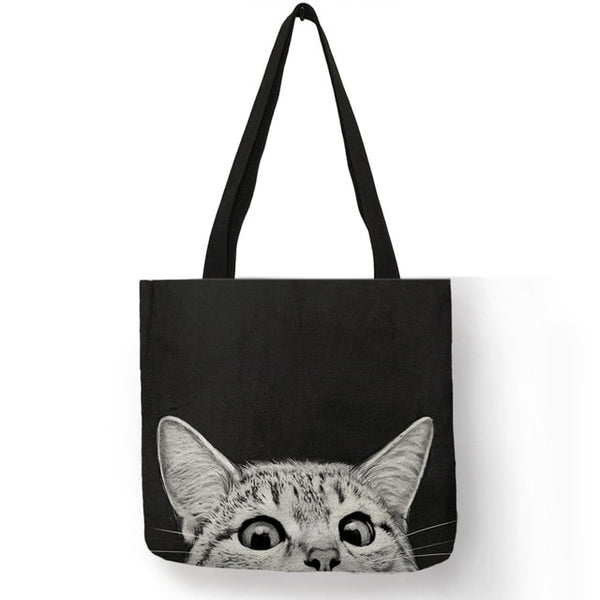 Black Cat Print Shoulder Tote Bag - Cute Wayz