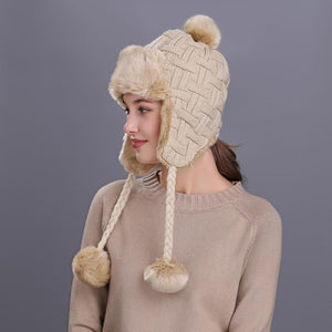 Faux Fur Beanie Hat with Ear Flaps and Pom Pom - Cute Wayz