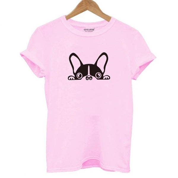 French Bulldog Peeking T-shirt Print - Cute Wayz