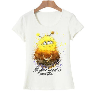 Cute Monster Cartoon Print T-shirt for Women - Cute Wayz