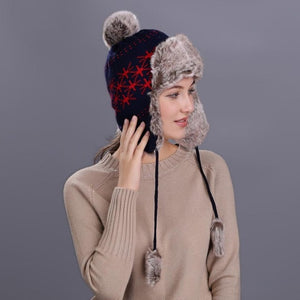 Faux Fur Beanie Hat with Ear Flaps and Pom Pom in Geometric Design - Cute Wayz