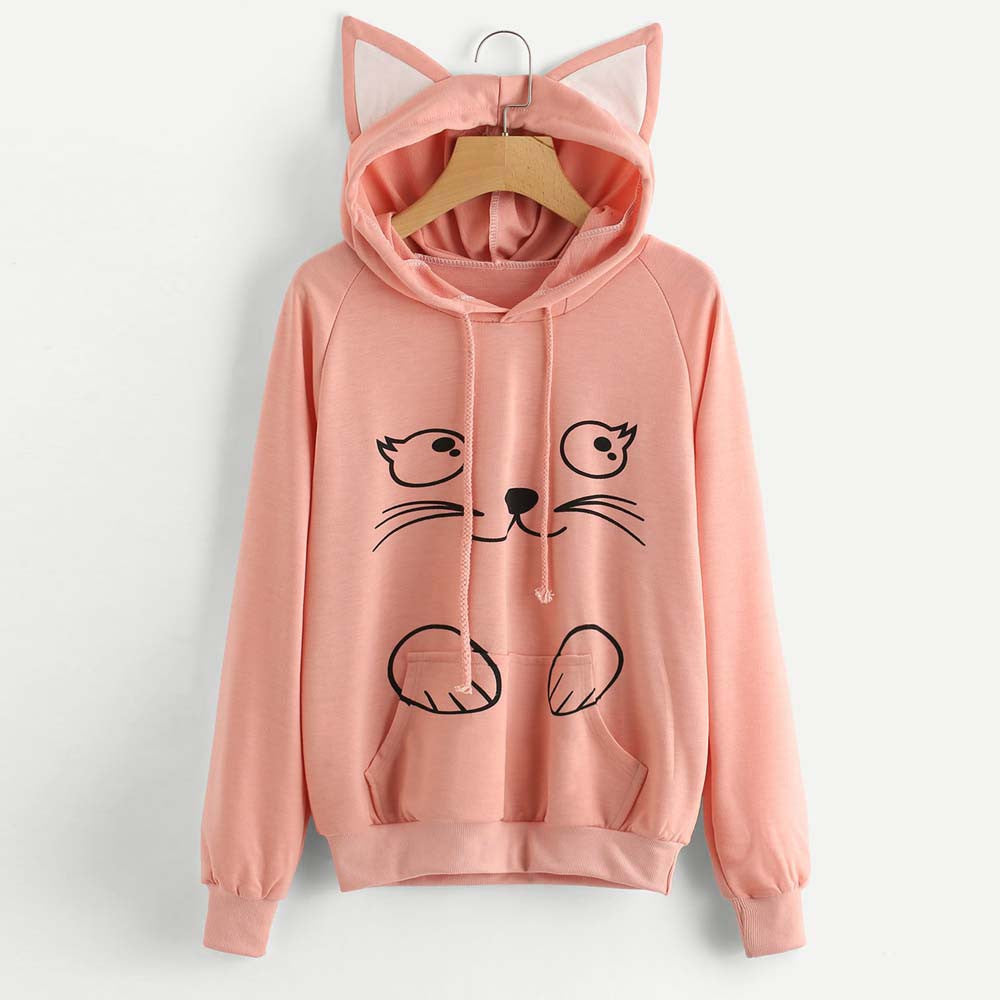 Cat Face Print with Cat Ears Hoodie Pullover - Cute Wayz