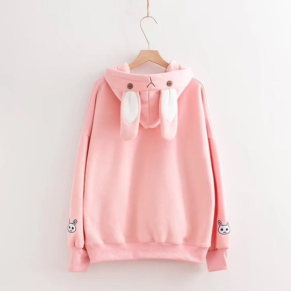 Adorable Rabbit Embroidered with Ears Hoodie Pullover - Cute Wayz