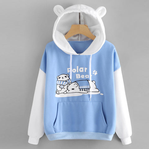 Polar Bear Ear Hoodie Pullover Sweatshirt - Cute Wayz