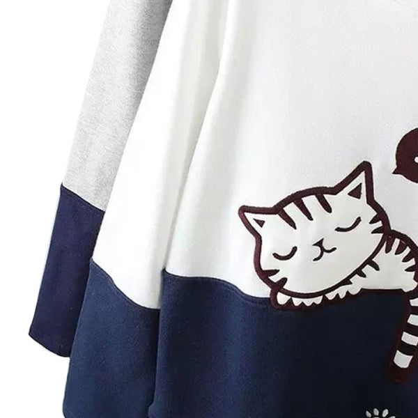 Cat Sleeping & Paws Embroidered Sweatshirt Pullover - Cute Wayz