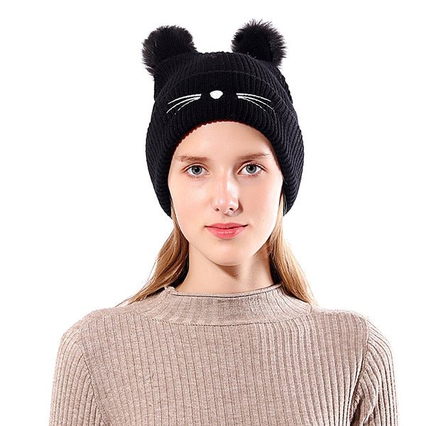 Fluffy Cat Ears Beanie - Cute Wayz