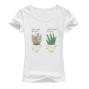 Cute Aloe Plant T-shirt Print - Cute Wayz
