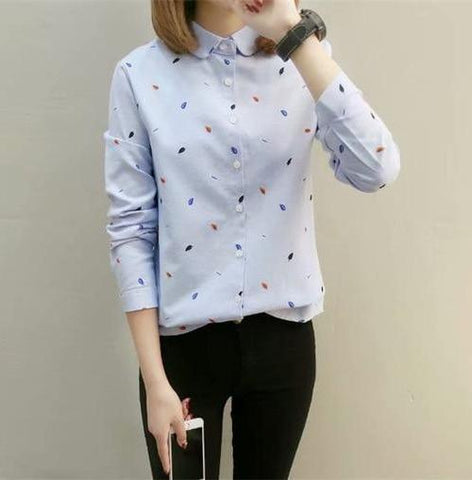 Blouse Shirt Top in Cute Leaves Print - Cute Wayz