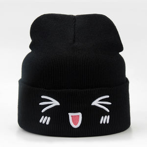 Cat Cartoon Embroidered Beanie Hat - Cute Wayz