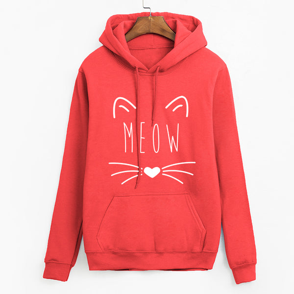 Cat Meow Face Print Hoodie Pullover - Cute Wayz
