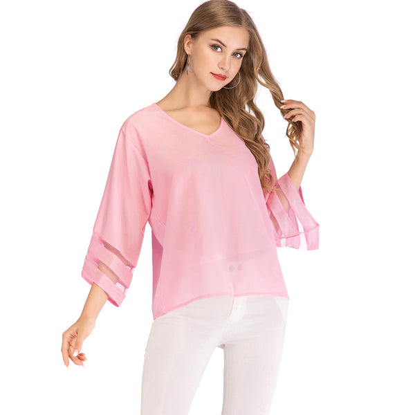 V Neck Blouse in 3/4 Bell Sleeve - Cute Wayz