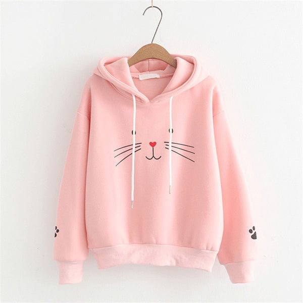 Cat Face and Paw Print Hoodie Pullover - Cute Wayz