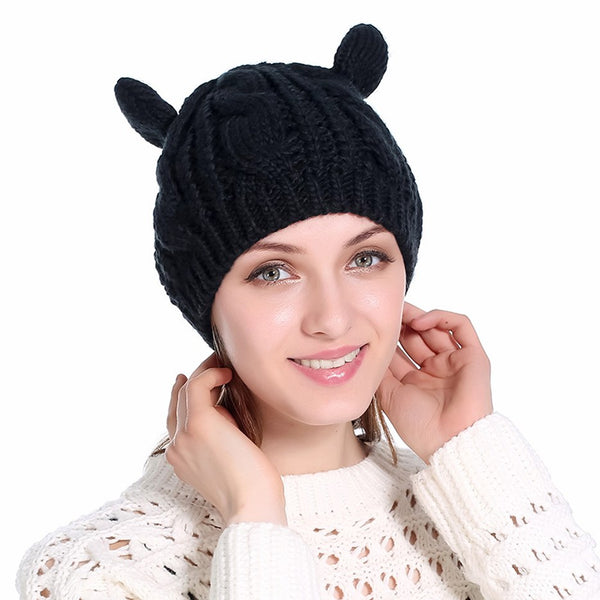 Cute Knitted Cat Ears Beanie - Cute Wayz