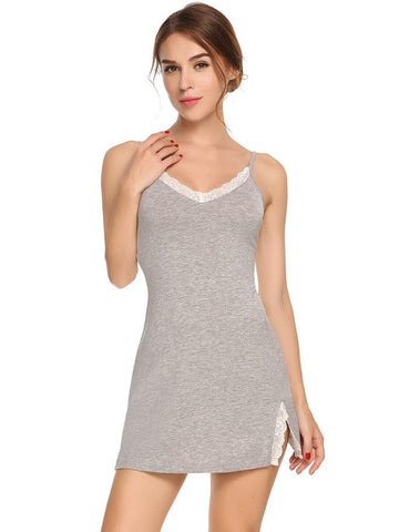 Lovely Nightie Sleepwear Pajamas with Lace Trim - Cute Wayz