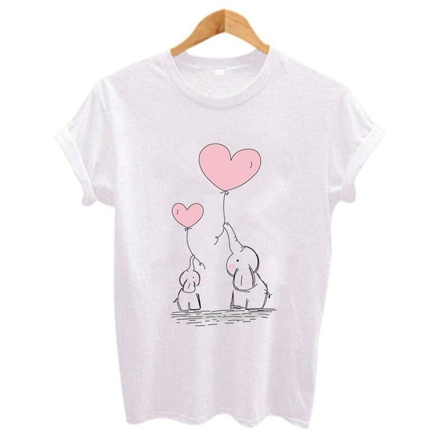 Elephant with Heart Balloons Print  T-shirt for Women - Cute Wayz