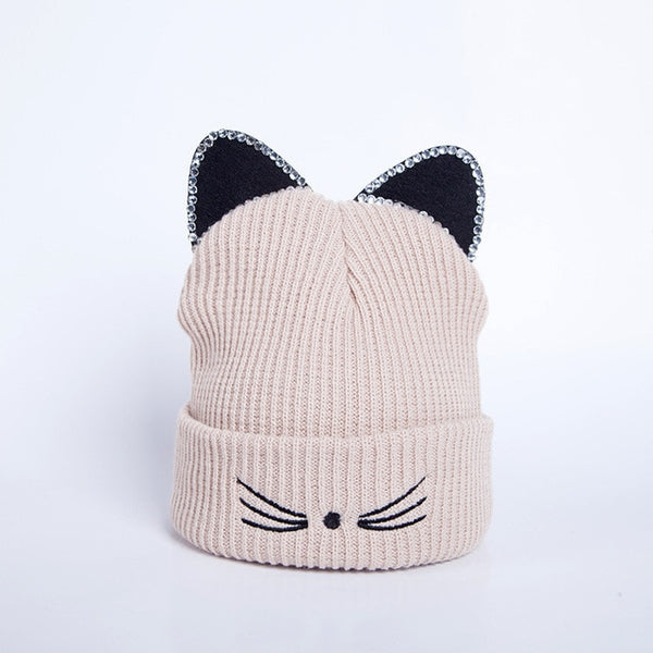 Cat Ears Beanie Hat with Rhinestones - Cute Wayz