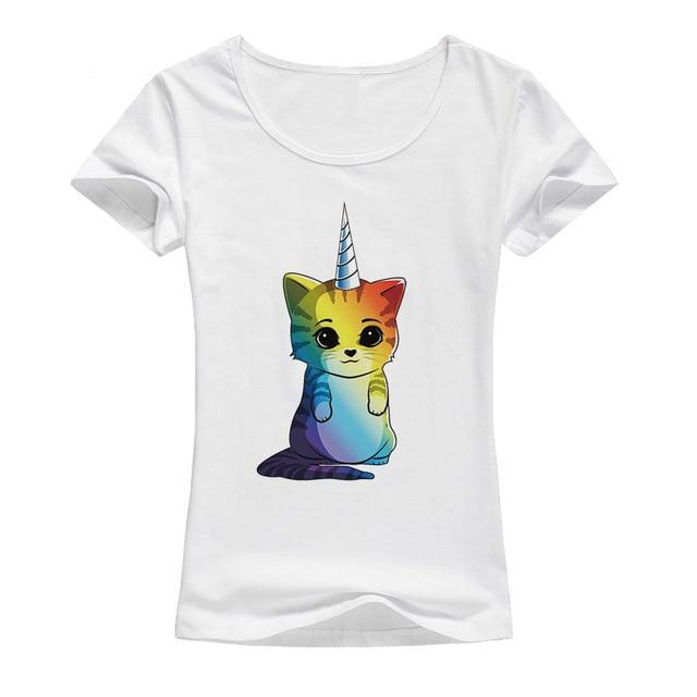 Rainbow Unicorn Cat Print T-shirt for Women - Cute Wayz