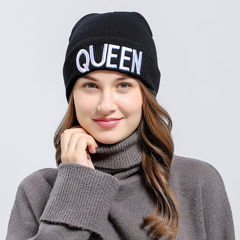 Queen and King Embroidered Beanie Hat - Cute Wayz