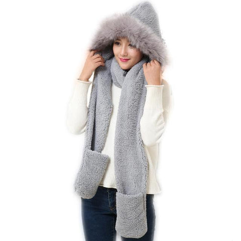 Faux Fur Hat with Scarves Mittens for Women - Cute Wayz