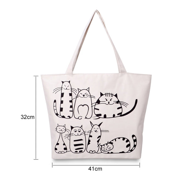 Funny Cats Cartoon Canvas Tote Shoulder Bag - Cute Wayz
