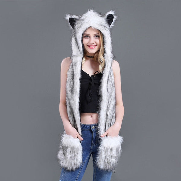 Cute Animals Plush Hats with Scarves Mitten Paws - Cute Wayz