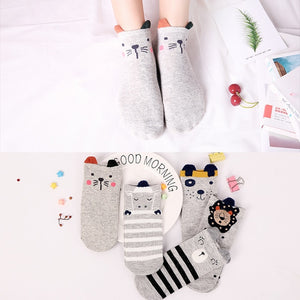 Animals Cartoon Ankle Socks with Ears 5 Pairs - Cute Wayz