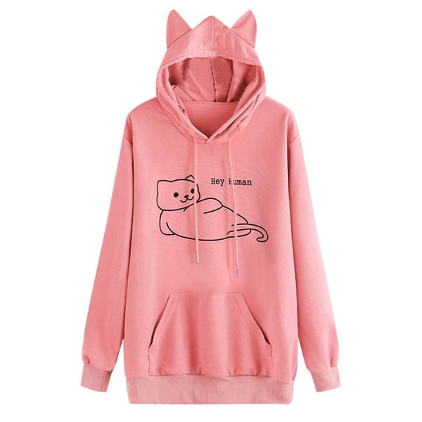 Cute Cat Ears Hoodie with Cat Print Pullover Sweatshirt - Cute Wayz