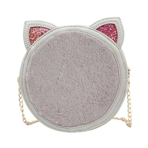 Cat Ears Handbag Sling Purse in Faux Fur and PU Leather - Cute Wayz