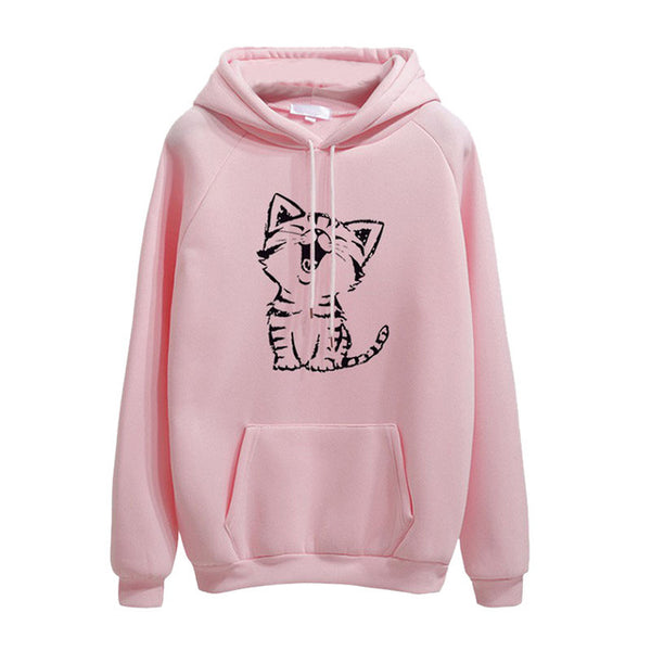 Cat Meowing Print Hoodie Pullover - Cute Wayz