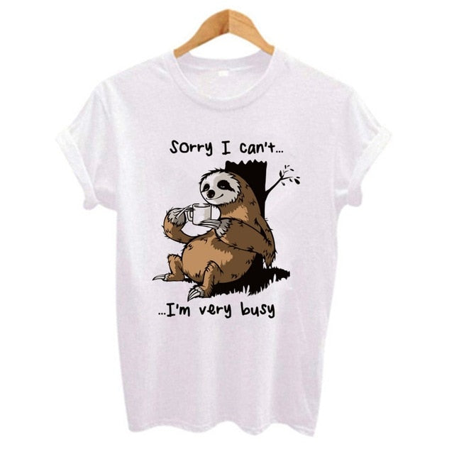 Funny Sloth Sorry I Can't T-shirt Print for Ladies - Cute Wayz