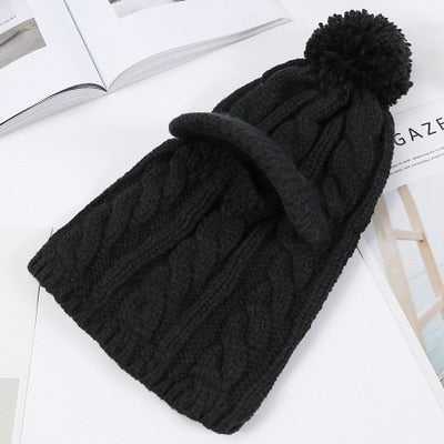2 in 1 Beanie Cap and Face Mask for Women - Cute Wayz