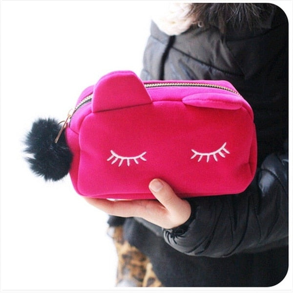 Cat Cosmetic Bag with Cat Ears - Cute Wayz
