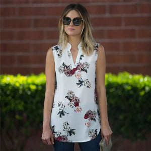 Sleeveless Blouse Top with Floral Print - Cute Wayz