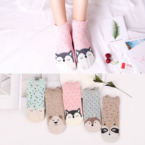 Ankle Socks with Animals Print and Ears 5 Pairs