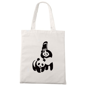 Panda Canvas Tote Shoulder Bag in Various Adorable Designs - Cute Wayz