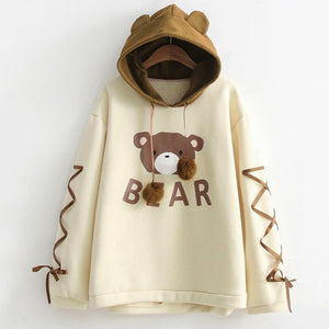 Brown Bear Hoodie Pullover with Ears and Ribbons - Cute Wayz