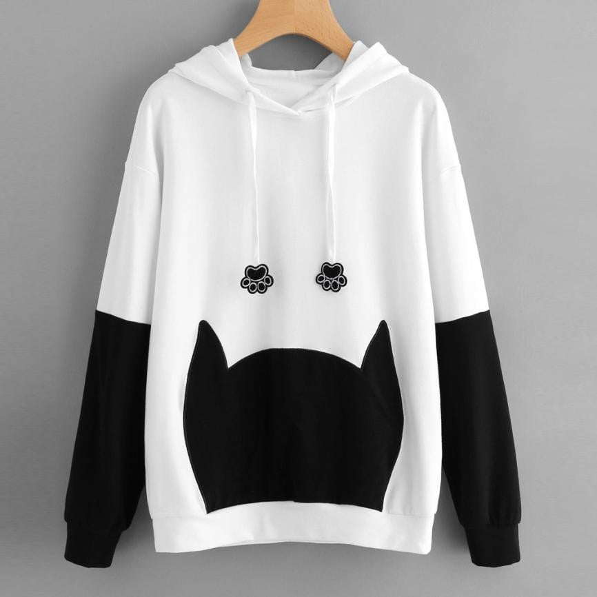 Cat Paws Drawstrings Hoodie with Cat Ears Pullover - Cute Wayz