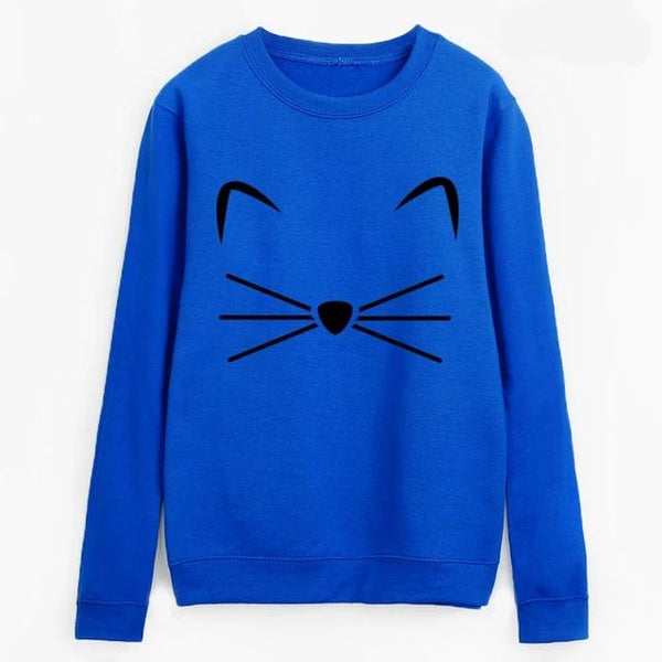 Cat Face Design Sweatshirt Pullover - Cute Wayz