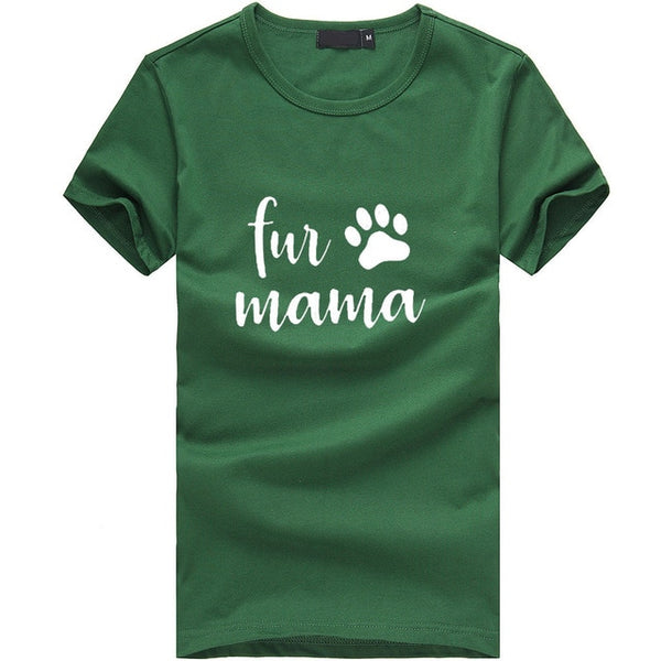 Fur Mama T-shirt Print with Paw - Cute Wayz