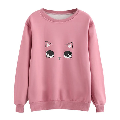 Lovely Cat Cartoon Face Print Sweatshirt Pullover - Cute Wayz